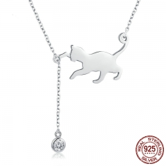 Fashion Genuine 925 Sterling Silver Cute Pet Pussy Cat Chain Pendant Necklace for Women Sterling Silver Jewelry SCN232