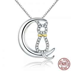 Hot Sale Authentic 925 Sterling Silver Fashion Moon Cat Women Necklaces Clear CZ Luxury Sterling Silver Jewelry SCN122