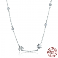 100% 925 Sterling Silver Sparkling Moon and Star Exquisite Pendant Necklaces for Women 925 Silver Jewelry Gift SCN272