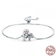 Fashion New 100% 925 Sterling Silver Cherry Daisy Flower Chain Link Women Bracelet Sterling Silver Jewelry Gift SCB055