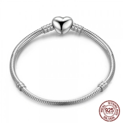 Authentic 100% 925 Sterling Silver Snake Chain Moments Heart Bracelet & Bangle Luxury Silver Jewelry PAS917 BRACE-0024