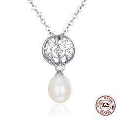 Elegant 100% 925 Sterling Silver Shimmering CZ Openwork Pearl Pendant Necklaces for Women Luxury Fine Jewelry SCN117