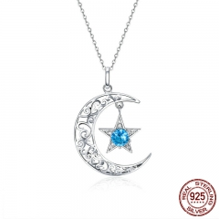 Romantic 925 Sterling Silver Sparkling Moon And Star Necklaces Pendants for Women Fashion Necklace Jewelry Gift SCN278