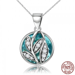 Trendy Authentic 925 Sterling Silver Green Crystal CZ Tree of Life Pendant Necklaces for Women Fine Jewelry Gift SCN109