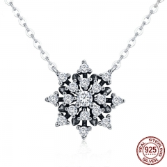 High Quality 100% 925 Sterling Silver Luminous CZ Snowflake Pendant Necklaces Women Sterling Silver Jewelry Gift SCN220