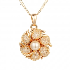 Champagne Gold Color Necklaces Pendants Simulated Pearl AAA Cubic Zircon For Women Christmas Gift JSN090