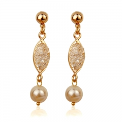 Luxury Simulated Pearl Drop Earrings For Women Wedding Rose Gold Color Zircon Crystal High Quality Jewelry JSE021