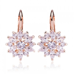 3 Colors Luxury Gold Color Flower Stud Earrings with Zircon Stone Women Birthday Gift Bijouterie JIE014
