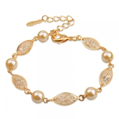 Luxury Simulated Pearl Bracelet For Women Champagne Gold Color Cubic Zirconia High Quality Jewelry JSB020