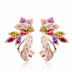 Gold Color Flower Oversized Big Stud Earrings with Multicolor AAA Zircon Stone Birthday Gift Jewelry JIE019 FASH-0014