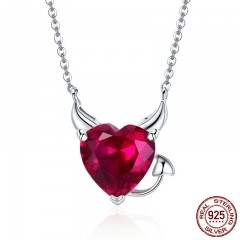 New Collection 100% 925 Sterling Silver Devil Wings Red CZ Necklaces Pendant For Women Fashion Silver Jewelry SCN286