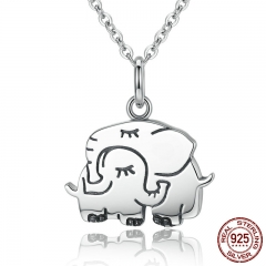 100% 925 Sterling Silver Cute Elephant Hug Pendant Necklaces Women Fine Jewelry Brincos S925 for Mother Gift SCN065