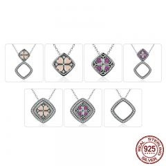 Real 925 Sterling Silver Pink & Red Heart with Square DIY Pendant Necklaces Women Multifunctional Jewelry SCN055
