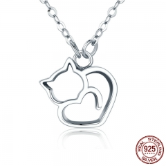 Authentic 100% 925 Sterling Silver Lovely Cat Exquisite Women Pendant Necklace Luxury Sterling Silver Jewelry Gift SCN188