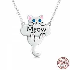 100% Genuine 925 Sterling Silver Animal Cute Cat Pussy Dangle Pendant Necklaces for Women Fashion Jewelry Gift SCN210