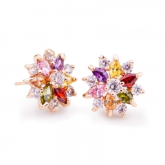 Gold Color Gold Star Stud Earrings with Multicolor Zircon Stone For Women Birthday Gift Jewelry JIE018 FASH-0015