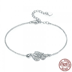 New Trendy 925 Sterling Silver Tree of Life Tree Leaves Lobster Clasp Women Bracelet Sterling Silver Jewelry Gift SCB074 BRACE-0092