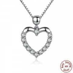 New Authentic 925 Sterling Silver Female Heart Pendant Necklace High Quality Fashion Necklace Accessories SCN025