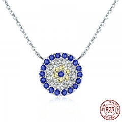 Collection 925 Sterling Silver Trendy Round Blue Eyes Clear CZ Pendant Necklaces Women Authentic Silver Jewelry SCN089