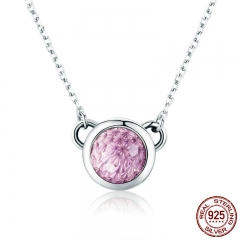 100% 925 Sterling Silver Blooming Round Pink Clear CZ Chain Pendant Necklace for Women Luxury Silver Jewelry Gift SCN183