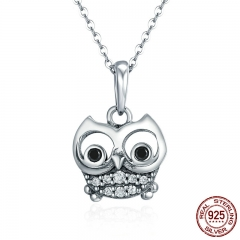 Authentic 100% 925 Sterling Silver Animal Cute Owl Necklace Women Pendant Necklace Sterling Silver Jewelry SCC341