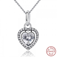 New Arrival Luxury 925 Sterling Silver Love Heart Pendant Necklace for Women Wedding Fine Jewelry PAS260
