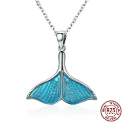 925 Sterling Silver Ocean Sea Blue Enamel Fish Whale's Tail Mermaid Pendant Necklaces Women Silver Jewelry Brincos SCN096
