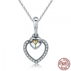Mother Gift 100% 925 Sterling Silver To Mother's Love Gold Heart Pendant Necklace for Mom Chain Necklace Jewelry Gift