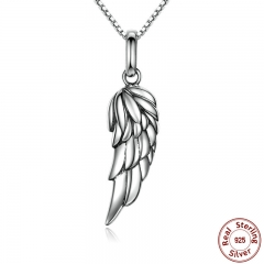 New Authentic 925 Sterling Silver Feather Wing Pendant Necklace High Quality Necklace Fine Jewelry SCN026 NECK-0010