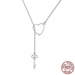 925 Sterling Silver Sweet Key of Heart Lock Link Chain Necklaces & Pendants Women Luxury Sterling Silver Jewelry SCN107