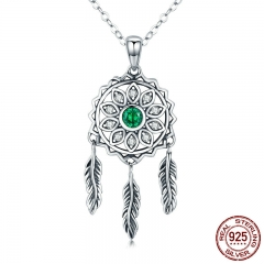 New Trendy Real 925 Sterling Silver Dream Catcher Holder Pendant Necklaces Women Fashion Sterling Silver Jewelry SCN263