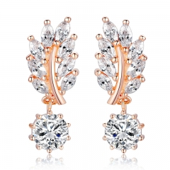 HOT Trendy Jewelry Women Drop Earring Rose Gold Color with CZ in Leaf Shape for Special Oorbellen JIE044