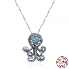 100% 925 Sterling Silver Fancy Octopus Marine Animal Clear CZ Pendant Necklace Vintage Punk Style Silver Jewelry SCN166