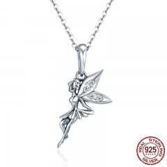 Authentic 100% 925 Sterling Silver Flower Fairy Long Necklace Women Pendant Necklace Sterling Silver Jewelry SCC359
