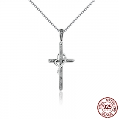 New Arrival 925 Sterling Silver Faith In Heart Cross Crystal Women Pendant Necklaces Authentic Silver Jewelry Gift SCN104 NECK-0074