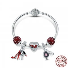 Authentic 925 Sterling Silver Red Enamel Heart Women Shoes Cosmetic Bracelets & Bangles for Women Silver Jewelry SCB802