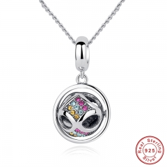 New Authentic 925 Sterling Silver Colorful Crystal Pendant Necklace For Women Necklace Accessories CC025