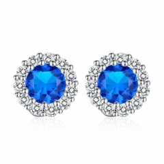 Fashion 5 Color Stones Crystals Stud Earrings for Women with AAA Zircon Earrings Jewelry Gift YIE006-BU