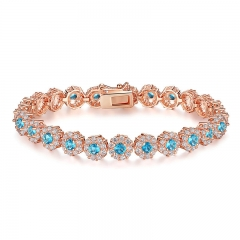 New Hot Sale Blue Crystals Luxury Fashion Rose Gold Color Women Bracelet Party Jewelry Wholesale JIB081