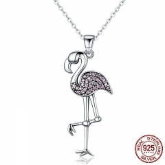 925 Sterling Silver Popular Flamin Bird Animal Pendant Necklaces with Clear Pink CZ Women Luxury Jewelry Brincos SCN093