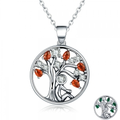 Hot Sale 100% 925 Sterling Silver 2 Color Tree of Life AAA Zircon Pendant Necklaces for Women Jewelry Brincos SCN203