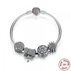 New Collection Original 925 Sterling Silver Knot Heart Charm Bangles & Bracelet Romantic Wedding Jewelry PSB003