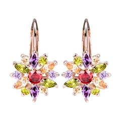HOT Sell 3 Colors Gold Color Stud Earrings with Multicolor AAA Zircon For Women Jewelry JIE042