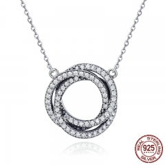 Real 925 Sterling Silver Minimalism Elegant Round Circle Clear CZ Pendant Necklaces Women Sterling Silver Jewelry SCN259