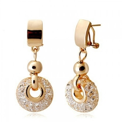 Luxury Rose Gold Drop Earrings Champagne Wire Zircon Crystal Female Fashion Jewelry JSE019