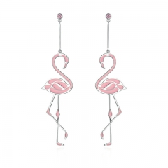 New Collection Silver Color Romantic Flamingo Pink Enamel Drop Earrings for Women Fashion Earrings Jewelry YIE114