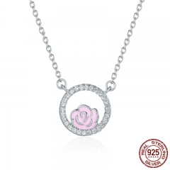 Genuine 925 Sterling Silver Rose Love in Circle Pendant Necklaces for Women Luxury Sterling Silver Jewelry Gift SCN139