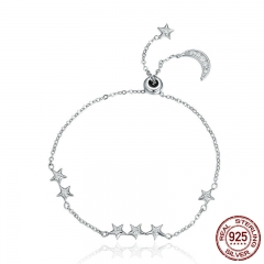New Arrival Genuine 925 Sterling Silver Sweet Whisper of Moon & Star Clear CZ Link Bracelet Luxury Silver Jewelry SCB007