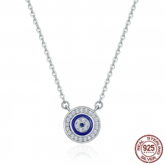 Hot Sale 100% 925 Sterling Silver Lucky Blue Eye Clear CZ Pendant Necklace Women Luxury Sterling silver Jewelry SCN165 NECK-0111