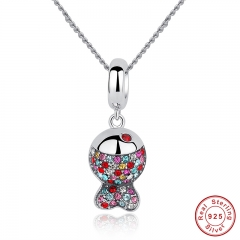 925 Sterling Silver Lovely Red Crystals Fish Pendants Necklace for Women Girl Statement Jewelry CC034